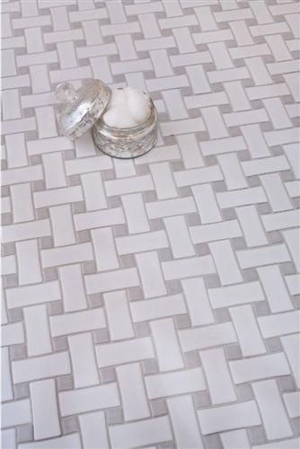 Mosaic Tile Stone | Basket Weave- Ceramic Glossy White- Bathroom Tile