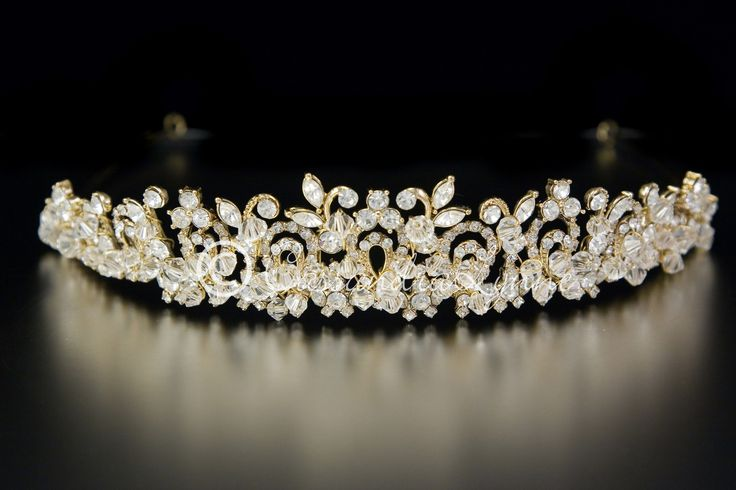 White and Gold Wedding Crown, Bride Tiara. I found this beautiful item at CassandraLynne.com!