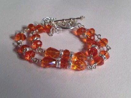 Orange Crystal Bracelet UT Longhorns Lips Charm Silver by cdjali, $42.00