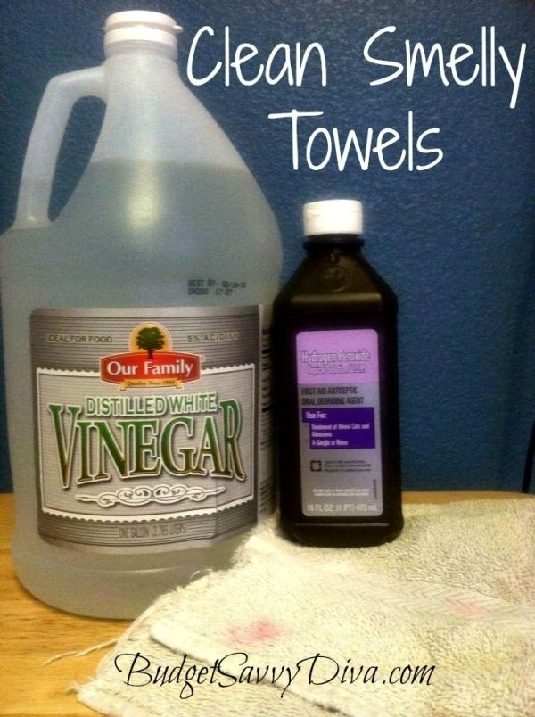 Clean Smelly Towels  Best way to clean smelly towels ever! First take 1/2 cup of peroxide and 1/2 cup vinegar. Let your once smelly towels soak for 15 minutes and then just wash them as you would wash anything else. This is my favorite way to make a old towel new!  I have done this many times – Peroxide did not stain the towels by evelyn