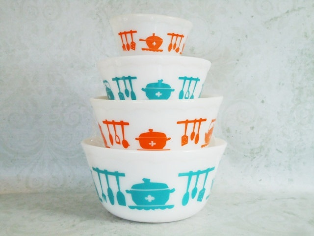 Hazel Atlas Kitchen Aids Stacking Bowls - Retro Hazel Atlas Bowls - Vintage Kitchen Utensils Bowls. $138.00, via Etsy.