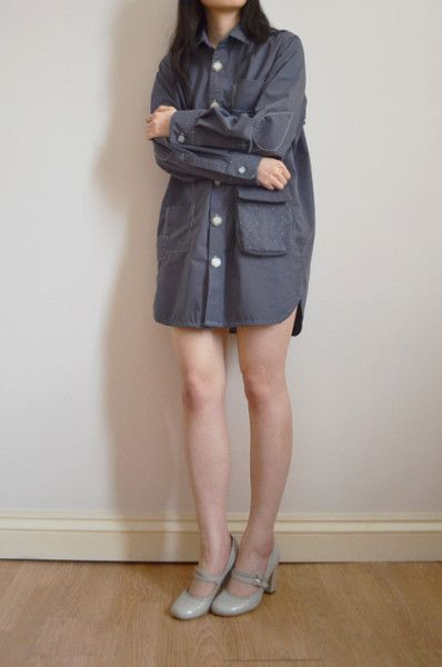 embroidered grey shirt dress by Minus Sun