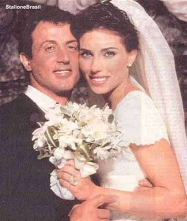 Caption: Sylvester Stallone and Jennifer Flavin in their wedding picture.