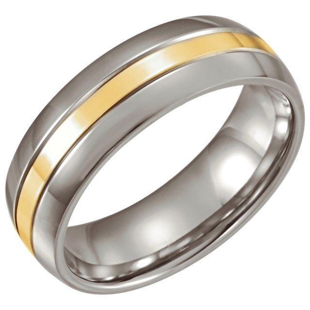 Stainless Steel & 14kt Yellow Gold Inlay 6.3mm Band Size 7...(STSTST860:070:P).! Price: $69.99