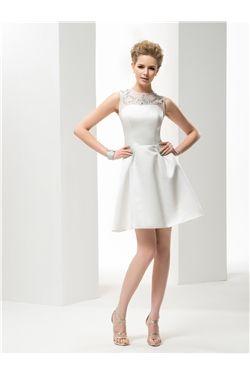 Chic & Modern A-line Short/Mini All Sizes Jewel Beach  Beading Summer Wedding Dress