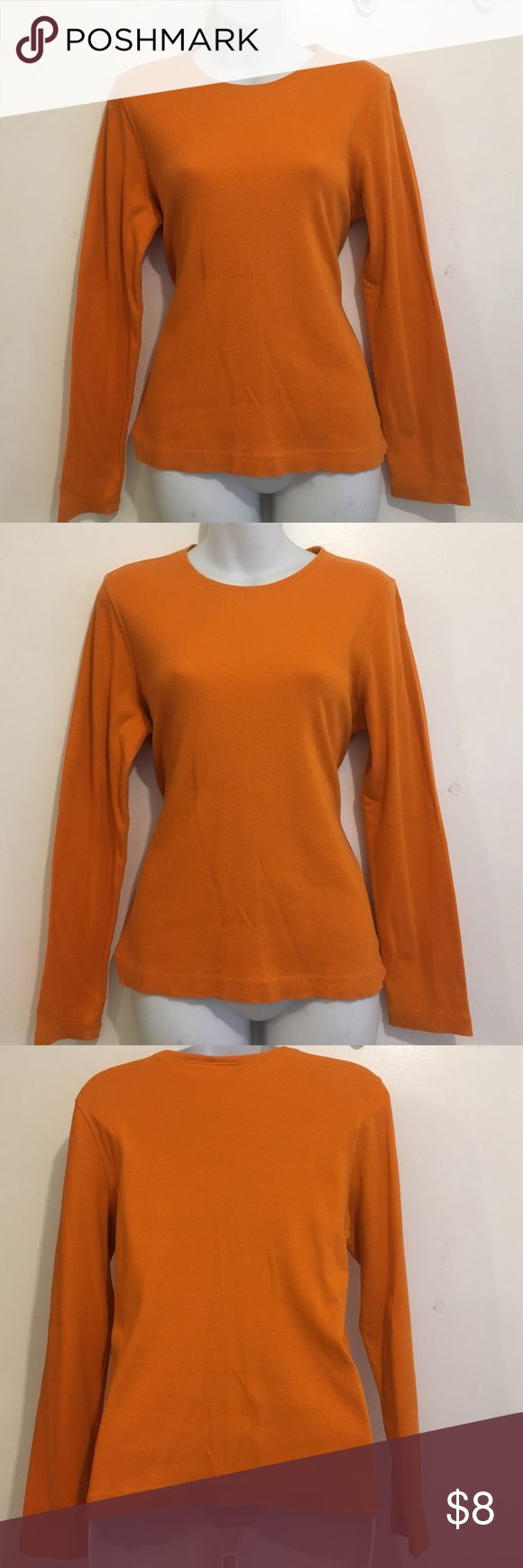 "Liz Claiborne Sz M Orange Long Sleeve Top 95% Cotton 5% Spandex- Beautiful Liz Claiborne Sz M Orange Long Sleeve Top... Measurements laying flat; Armpit to Armpit: 19"" Shoulder to Hem: 23"" Liz Claiborne Tops Tees - Long Sleeve"