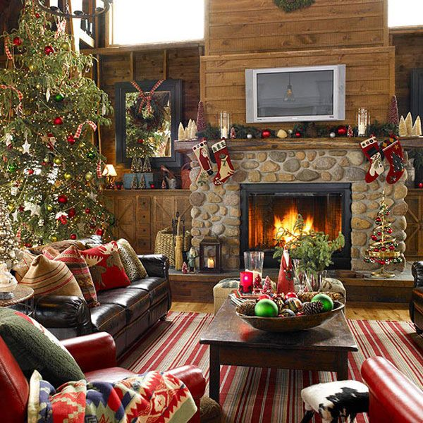 Rustic Christmas living room put down decorative rug for winter/holidays  when I move second couch up to make room for Christmas tree behind it  similar to ...