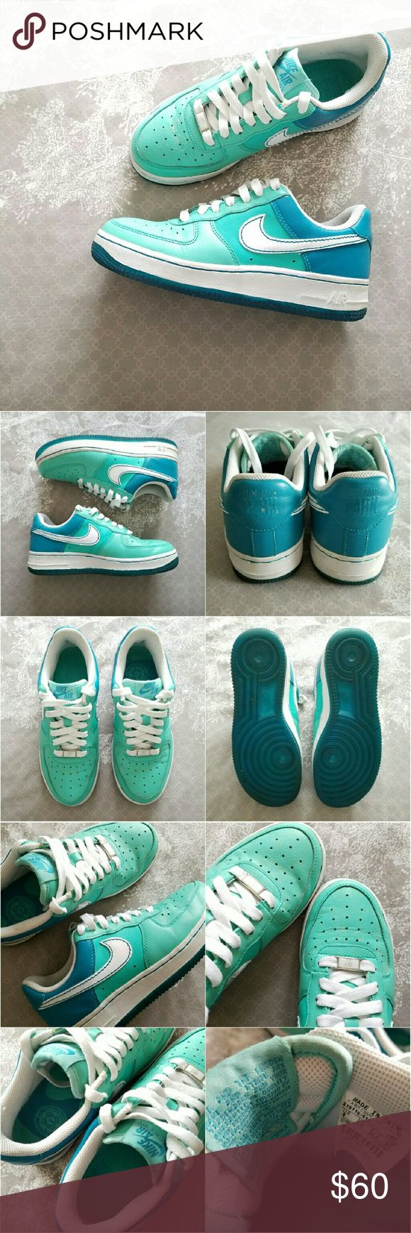 """Nike AF1 Cloverdale Parks edition Nike Airforce 1 'Cloverdale Park' Courts edition. In azure/white-tropical teal colorway. Tonal blue upper with embossed clovers on the toe and embossed """"Cloverdale Park Courts"""" on the heel tab. No box. Gently worn, EUC. Size way too small for me. Bundle for discount.   Size: USA 6, UK 3.5, EUR 36.5, CM 23. Nike Shoes"""