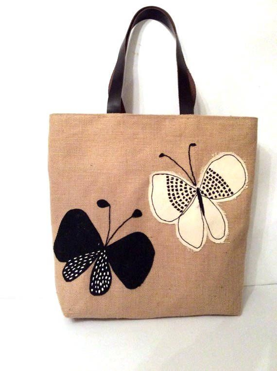 Black white butterflies handmade summer jute tote bag hand | Etsy