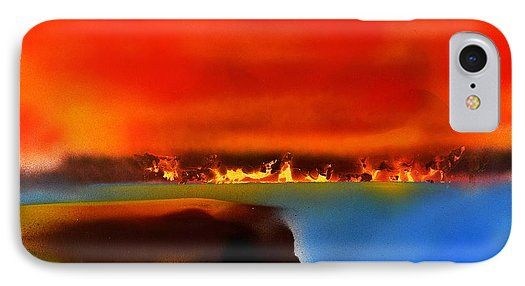 Burning Shore IPhone 7 Case Printed with Fine Art spray painting image Burning Shore by Nandor Molnar (When you visit the Shop, change the orientation, background color and image size as you wish)
