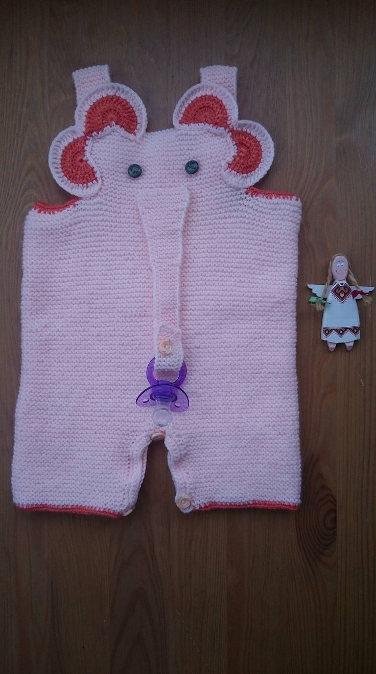 ELEPHANT BABY ROMPERS. Infant Bodysuit. baby Size For 3-6 Months. Pinkish Orange Rompers. Baby Gift. Rompers With Pacifier. Hand-Knitted.