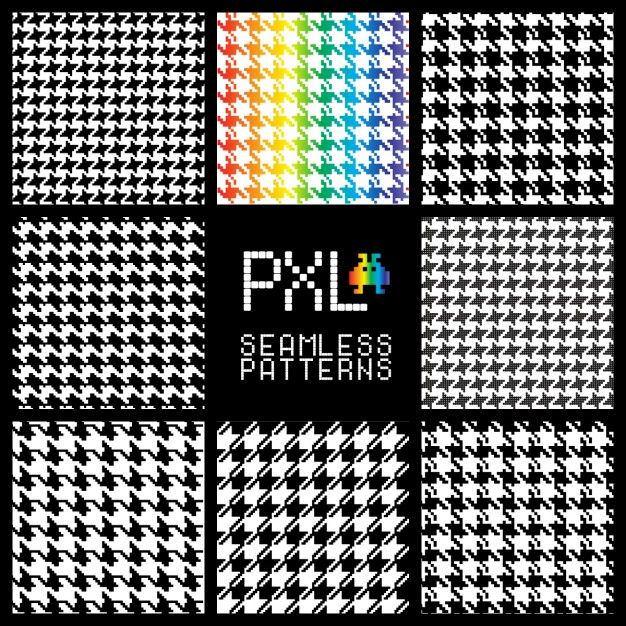 Retro pixel patterns Free Vector
