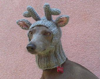 Renna cane cappello / renna Dog Snood / Natale cane cappello / cane cappello / berretto a maglia cane
