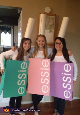 Nadine: My best feiends and I got the idea of being essie nailpolish since we are always wearing nail polish and our favourite brand is essie. Making this costume was simple,...
