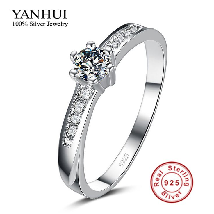 Big Promotion Real 925 Pure Silver Wedding Rings for Women 0.5 Carat CZ Diamond Engagement Ring Silver Jewelry Wholesale YJR068