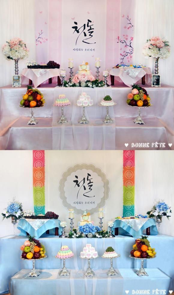 bonnefete.blog.com /// MissyUSA.com /// Baby's 1st Birthday - Main Table Set (BLUE & PINK) - Fusion Traditional Korean Style - baby dol party /// Please Contact Us: bonnefete@live.com