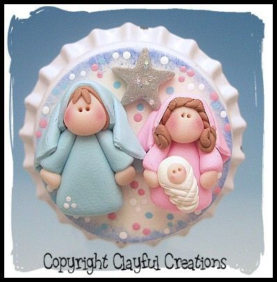 Becky's Polymer Clay - Nativity BOTTLE CAP