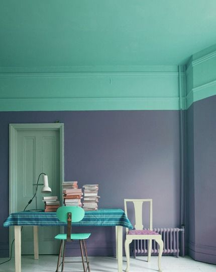 Love these 2 colors together - purple and an aquaish cyan color.  Really like that the ceiling color is coming down the walls.. must have high ceilings for that though