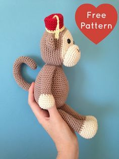 Heart & Sew: Cheeky Little Monkey - Free Crochet Amigurumi Pattern, stuffed toy, #haken, gratis patroon (Engels), aap, knuffel, speelgoed