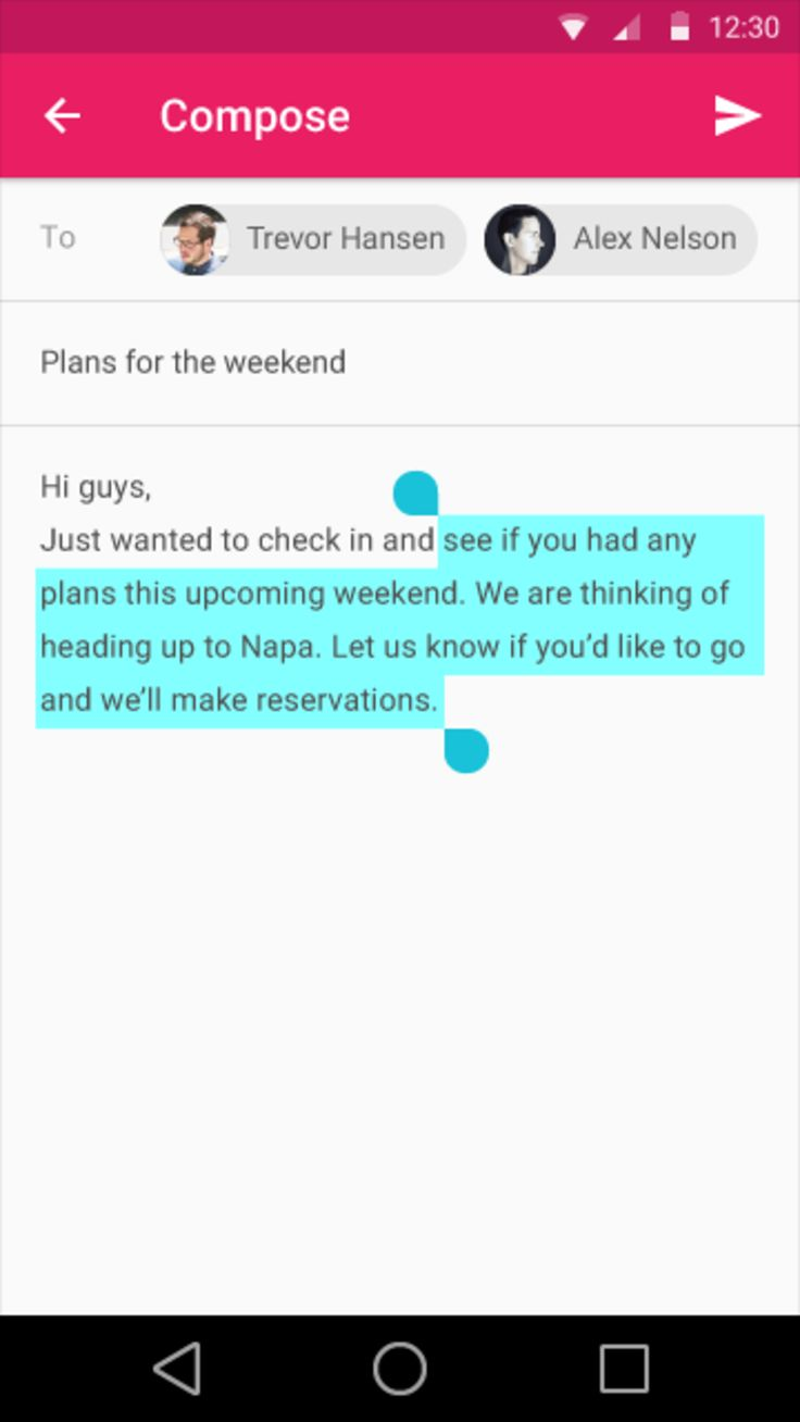 Google Material Design: Gmail: Compose: Selection / ?