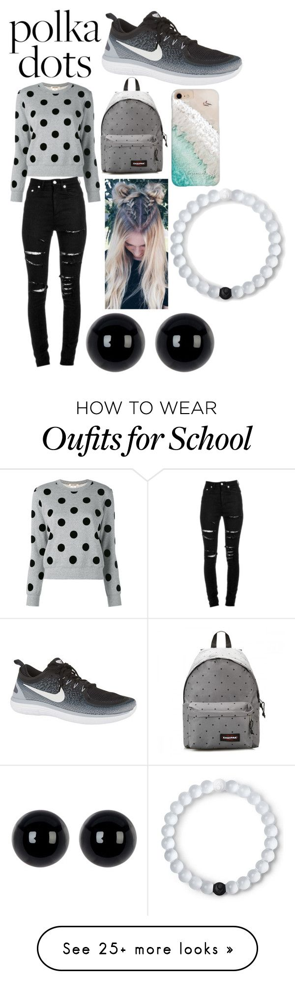 """Polka Dot day at school"" by loremme on Polyvore featuring Yves Saint Laurent, NIKE, Eastpak, Gray Malin, Lokai and Candela"