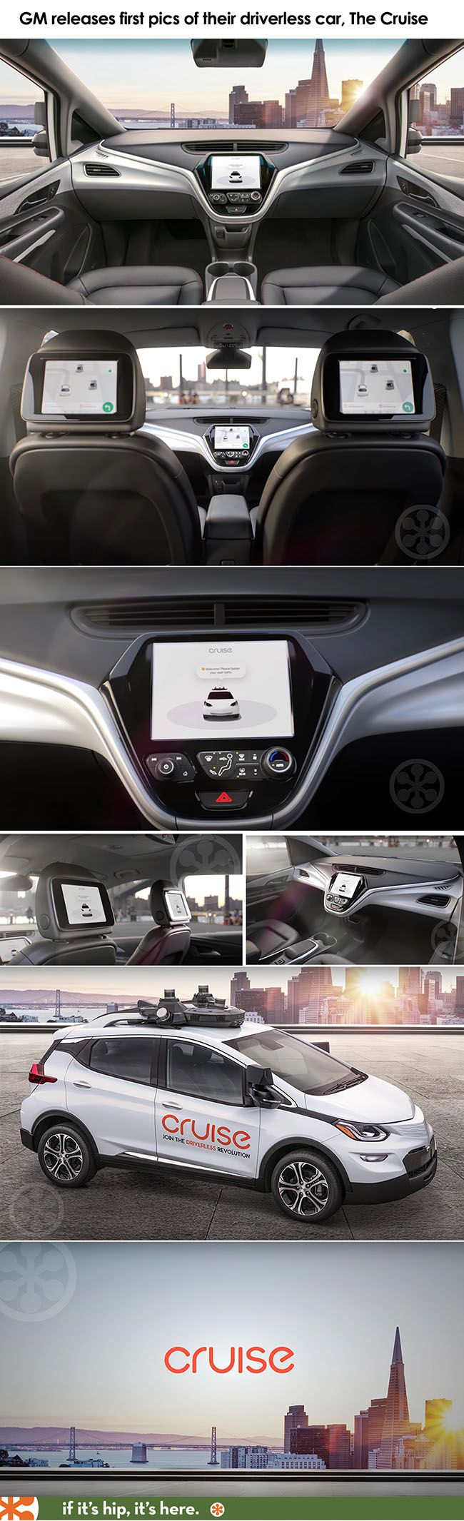 GM releases photos of its first driverless car without a steering wheel.