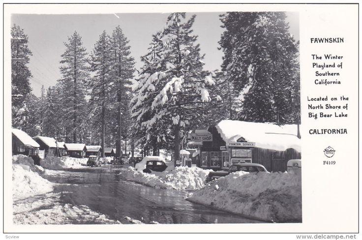 RP: Main Street in Winter at Malt Shop , FAWNSKIN , California , 30-40s - Delcampe.com