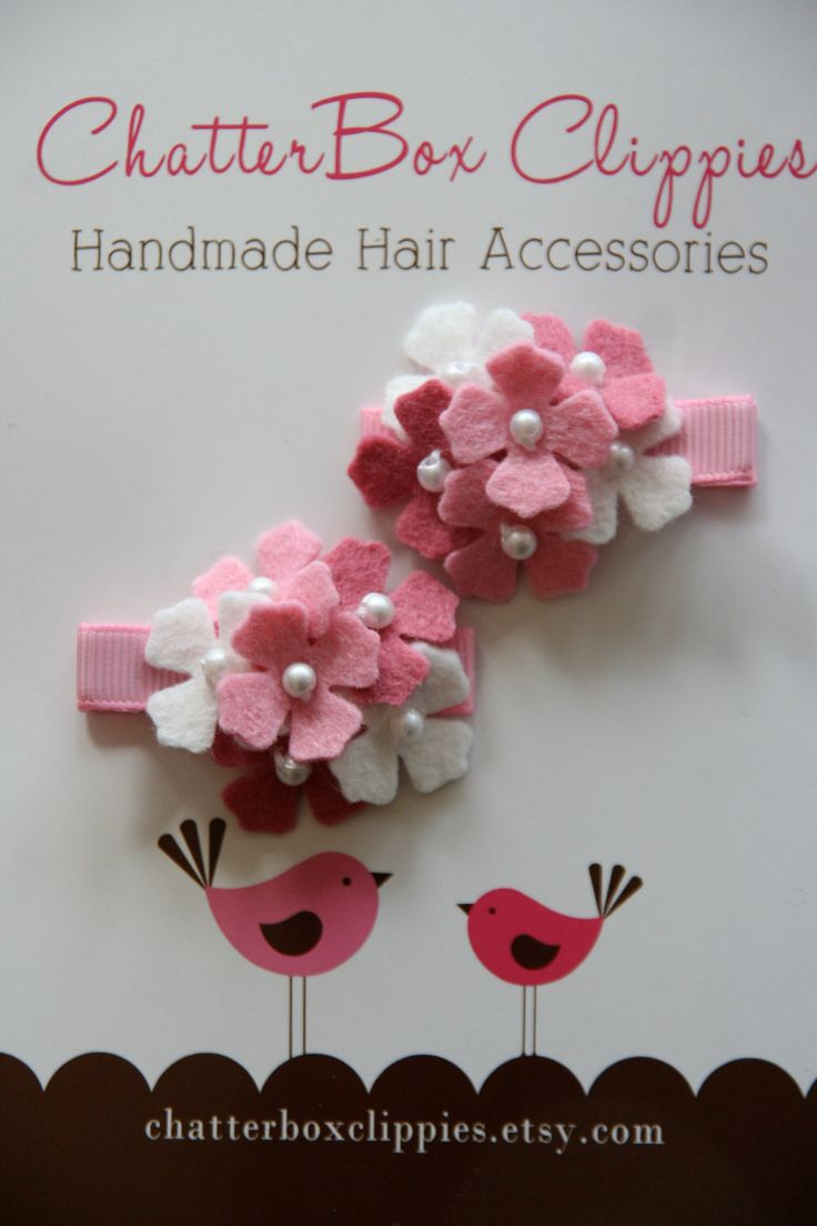 Hydrangea Hair Clips in Pink and White for Baby Toddler and Girls Felt Flower Hair Clips. $11.99, via Etsy.
