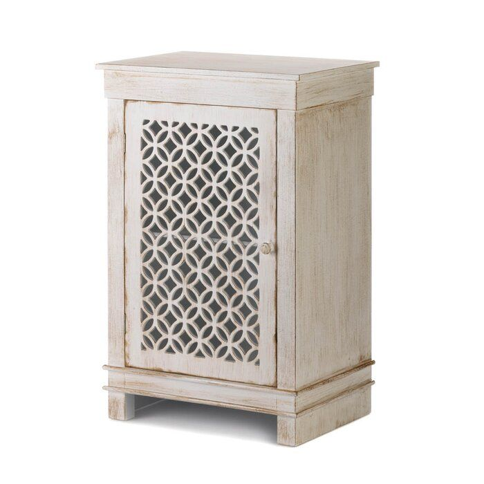 Bungalow Rose Ardilla Geometric Cutwork Distressed 1 Door Accent Cabinet Wayfair Accent Doors White Cabinets Distressed White