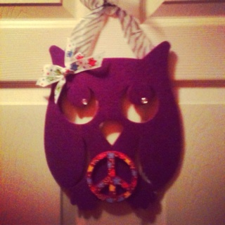 Door Hanger!!.....felt cut out Owl, embellished! Ribbon to hang it up, so simple!!!