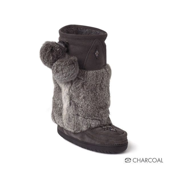 "Mid Classic Vibram Manitobah Mukluk (Charcoal) Foot Lining: Sheepskin Shearling Height: 12"" Tall Materials: Cowhide Suede, Rabbit Fur Sole: Tipi Vibram"