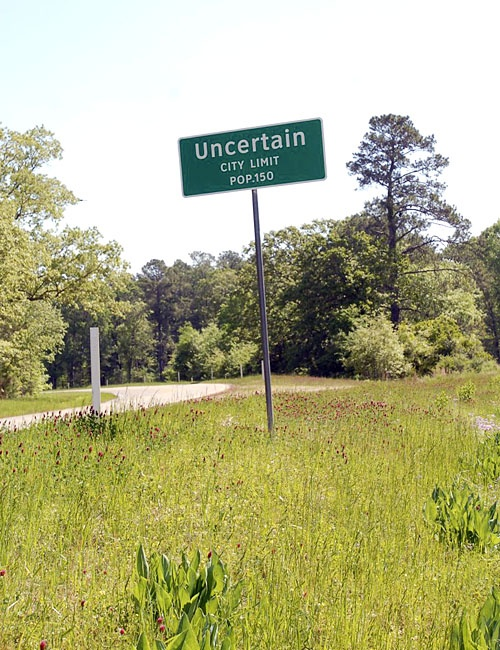 """Uncertain, Harrison County, Texas - located on the shore of Caddo Lake. While there, eat at Big Pines Lodge for a feast of catfish. ~ Uncertain derives its name from surveyors who were attempting to delineate the border between Texas and Louisiana and discovered they were """"uncertain"""" as to which side of the line they were on as they began surveying that particular part of Caddo Lake."""