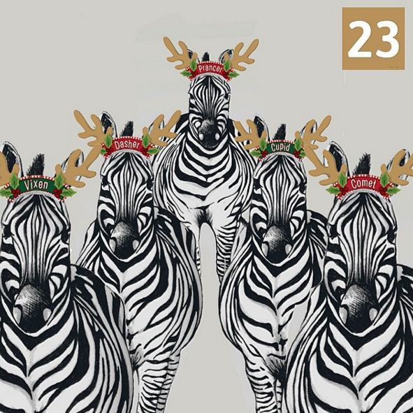 23rd December - Santa's reindeer are getting ready for tomorrow night! Dasher, Prancer, Vixen, Comet and Cupid are all here but there are three missing, can you name them? #juliettraversadventcalendar #christmas #zebras #santasreindeer