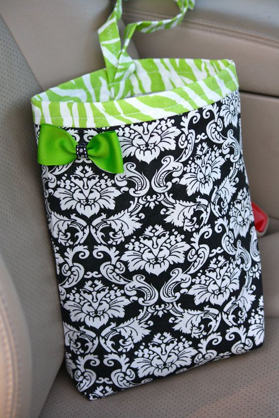 Car Trash Bag BLACK   WHITE DAMASK with Lime Zebra Trim  Gifts Car Litter  Bag. 43 best Etsy Unique Gifts images on Pinterest   Unique gifts