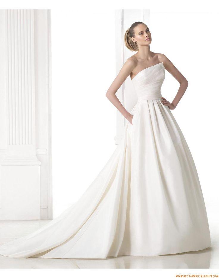 2015 Trägerlose Schlichte A-linie Brautkleider aus Taft mit Schleppe