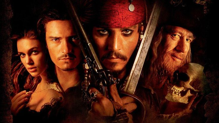 Pirates of the Caribbean: The Curse of the Black Pearl - Johnny Depp, Geoffrey Rush, Orlando Bloom, Keira Knightley, Jack Davenport and Jonathan Pryce