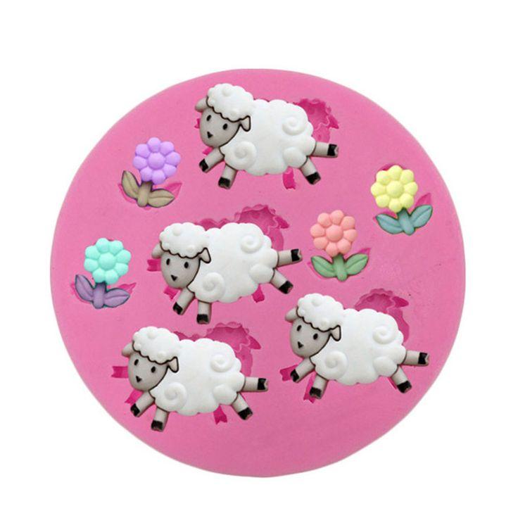 1 Pcs fleurs de moutons en forme bonbons au chocolat Jello 3D gâteau en silicone Mold savon bande dessinée de moule fondant gâteau décoration outils(China (Mainland))