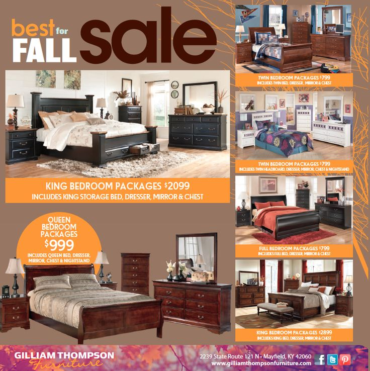 Best for FALL SALE is here   King Bedroom Packages starting at  2 099 and  includes. 36 best Monthly Furniture Sales Ads  images on Pinterest