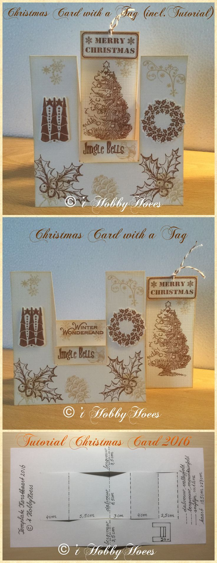 Christmas Card with a Tag. Includes a Tutorial! The can be used for someone else as a gift. DIY 't HobbyHoees 121216