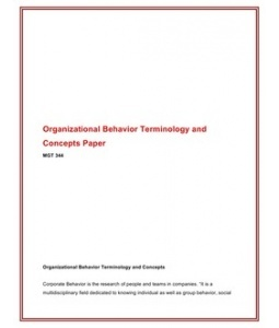 organizational behavior terminology concepts paper View essay - week 1 individual assignment organizational behavior terminology and concepts paper from mgt 307 at university of phoenix organizational behavior.