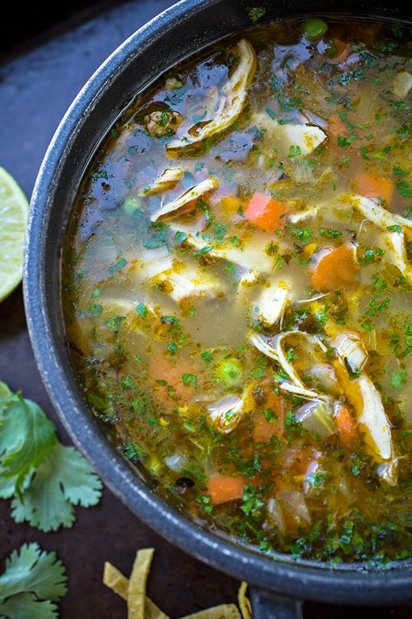 Zesty Chicken and Rice Soup with Lime and Cilantro  Gluten free • Serves 4-6