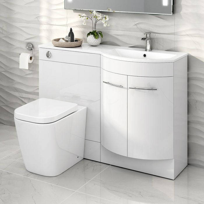 1200m Alexis White Gloss Right Hand Vanity Unit Florence Pan Bathroom Vanity Units Fitted Bathroom Furniture Bathroom Furniture Storage