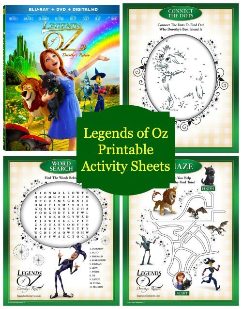 legends of oz free printable activity sheets reader giveaway jinxy kids