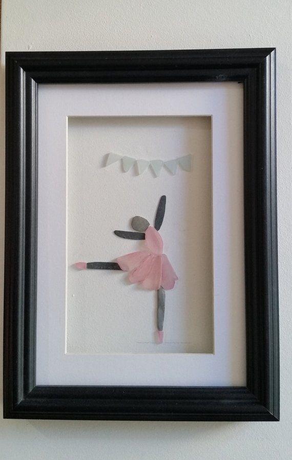 Sea Glass Art Ballerina in Pink Tutu, Framed Cornish Wall Art for ...