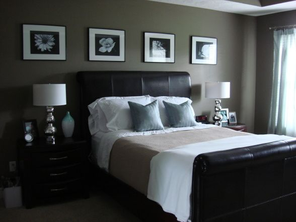 4 horizontal pics above bed and nightstands. Love the room