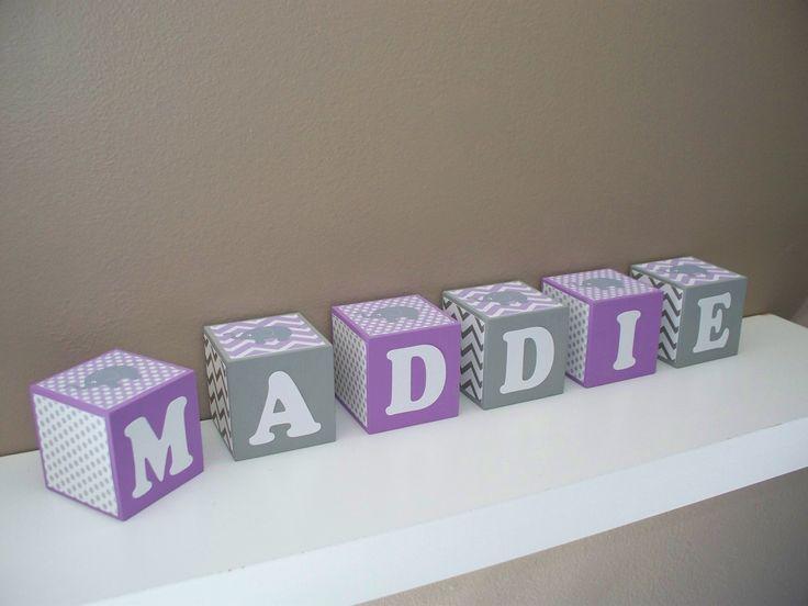 Elephant nursery decor name block light lavender for Small room 4 letters