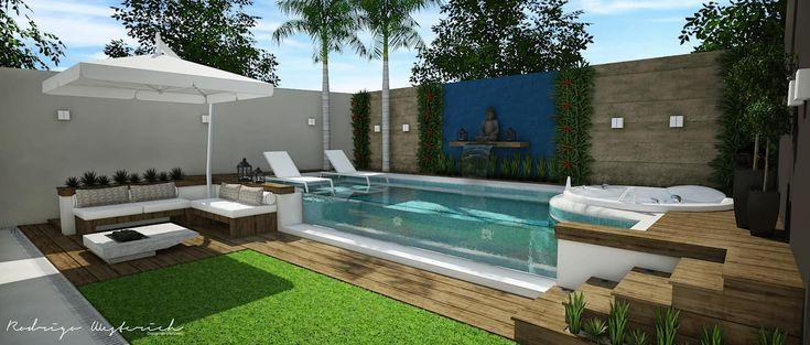 Área externa – Piscina: piscinas de jardim por rodrigo westerich – design de interiores, minimalista   – Casa contemporânea