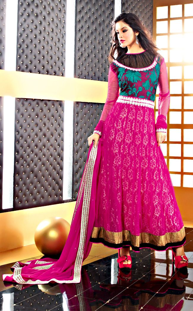 Pink Color Faux Chiffon Fabrics Anarkali Suit  ITEM CODE:- SLRC2107  PRICE;- 5015/- INR  SHOP THIS SUIT FROM HERE http://www.vivaahsurat.com/salwar-kameez/pink-color-faux-chiffon-fabrics-anarkali-suit-slrc2107