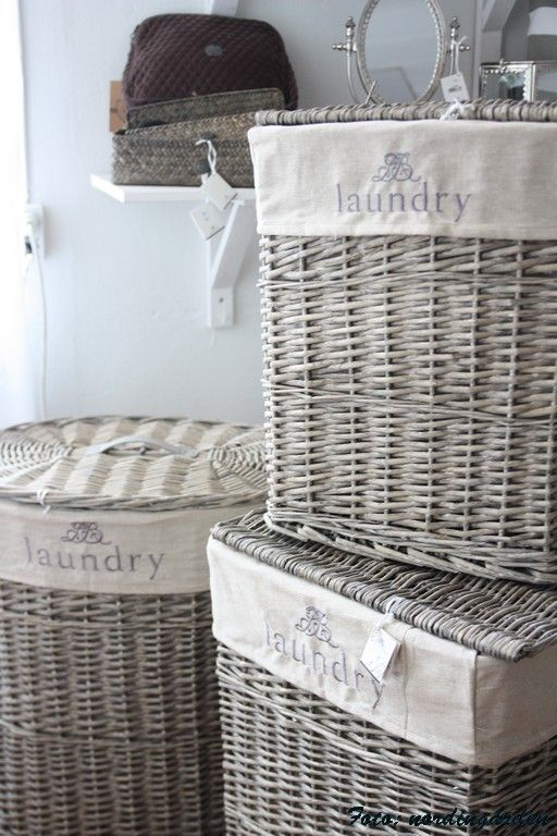 Wicker and cotton laundry baskets so that dirty clothes can air out