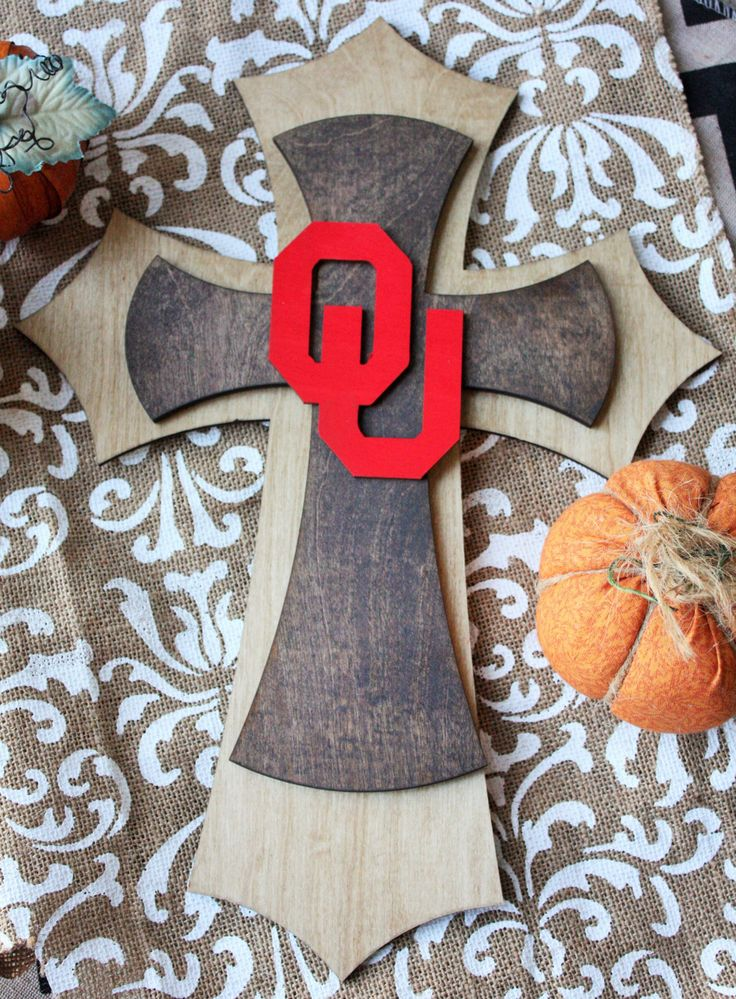 Beautiful Dark & Natural Stained OU Wooden Decorative Cross, Oklahoma University Football Softball Basketball Baseball Office Home Decor by PraiseThruArt on Etsy